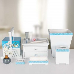 Star Hotel Natural Wood Guestroom Amenities Set Series in Blue and White