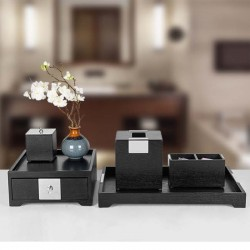 Star Hotel Natural Wood Guestroom Bath room Amenities Set Series in Black with Metal Decor