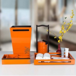 Star Hotel Natural Wood Guestroom Amenities Set Series in Orange