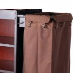 Deluxe Iron Frame Mixed Wooden Board Housekeeping Cart with Double Canvas Bag 1pcs pack