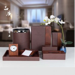 Star Hotel Business Double Color Splicing PU Leather Set