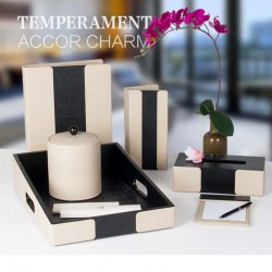 Chinese Design White Black Splicing PU Leather Set