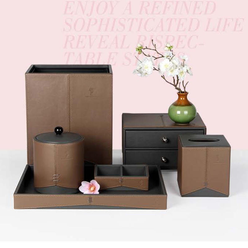 Chinese Design Double Color Splicing Hotel PU Leather Set