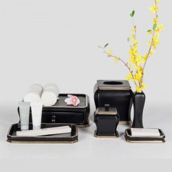 Star Hotel Shiny Black Resin Guestroom Amenities Set Series with Golden Trimming