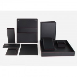 Business Black Lichee Grain PU Leather Set 9pcs set