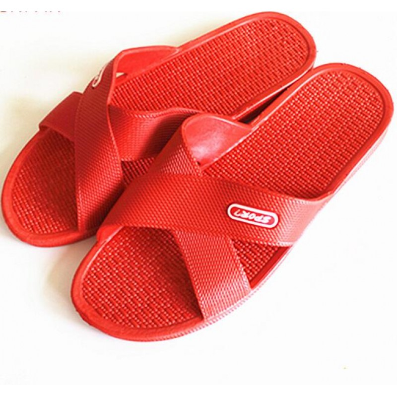 Bathroom Non Skid Slipper Red 100pairs pack