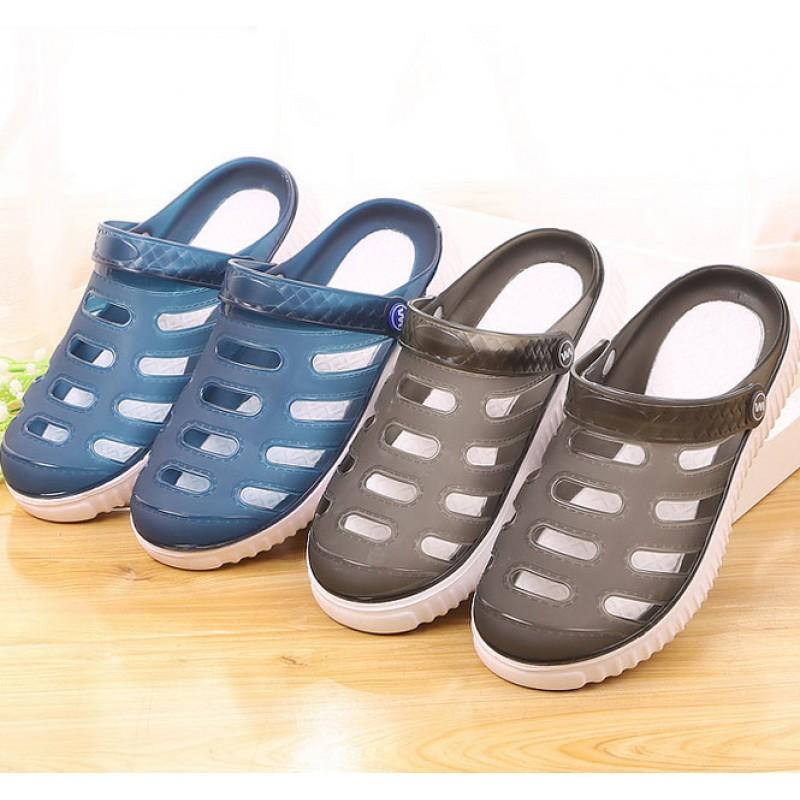 Plastic Slipper with Holes Light Gray Crocs Style Slipper