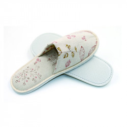 Linen Fabric Closed Toe Slipper 100pairs pack