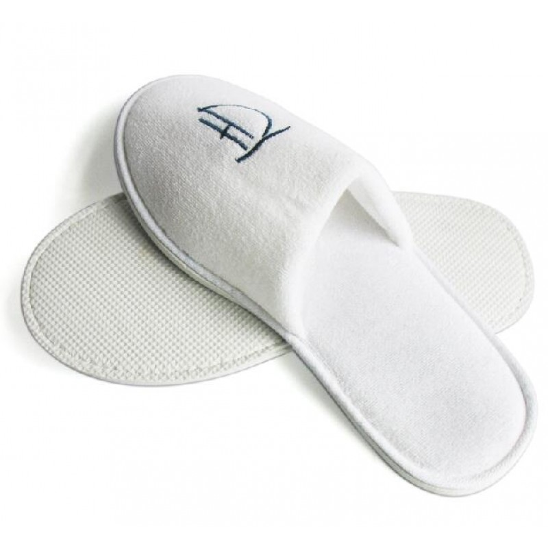Terry Cloth Fabric Slipper Closed Toe with Embriodery Logo 100pairs pack