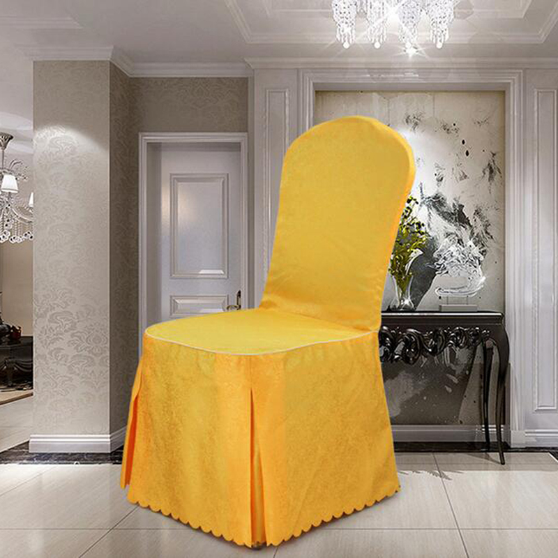 Quality Chinese Banquet Pleated Jacquard Chair Covers