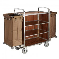 Shiny Stainless Steel Light Brown Housekeeping Cart 1pc pack